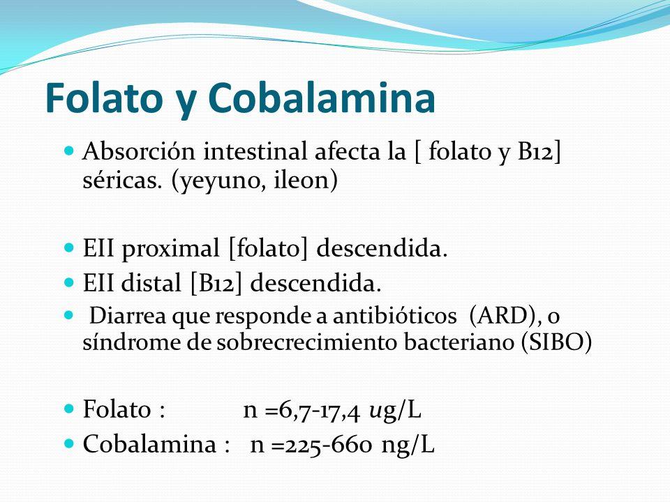 Folato y Cobalamina Absorción intestinal afecta la [ folato y B12] séricas. (yeyuno, ileon) EII proximal [folato] descendida.